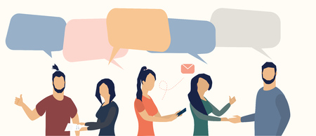 Vector illustration in flat cartoon style. businessmen discuss social network, news, social networks, chat, dialogue speech bubbles Illustration