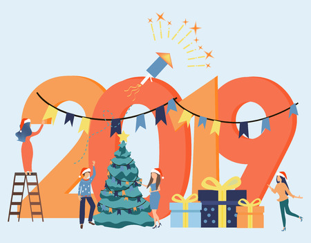 Small people are preparing for the new year. Colorful vector illustration in flat cartoon style. Inscription New Year 2019. Christmas tree. Gift boxes. Fireworks. Santa hat
