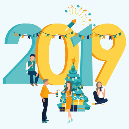 Business people and friends celebrating New Year. Colorful vector illustration in flat cartoon style. Inscription New Year 2019. Christmas tree. Gift boxes. Fireworks. Bottle of champagne and glasses.