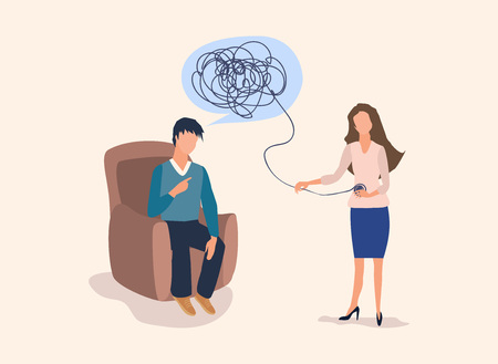 Psychotherapy concept with woman doctor and young man patient in depression. Tangled and untangled brain metaphor, society psychiatry. Stock Illustratie