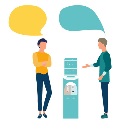 Vector illustration in flat style. Businessmen or friends standing near water cooler or dispenser and discuss social network, news, chat, dialogue speech bubbles.