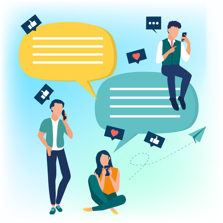 People use mobile smartphone for chatting in social media. Dialogue speech bubbles. Flat cartoon characters. Colorful vector illustration. Stock Illustratie