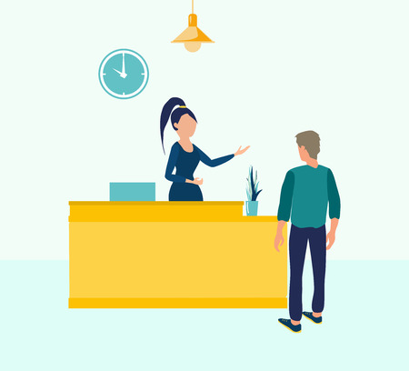 Customer at reception. Young woman receptionist standing at reception desk. Vector illustration in flat cartoon style. Reception service, business reception office, receptionist hotel. Ilustracje wektorowe