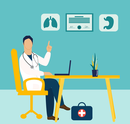 Medicine concept in flat cartoon style. Doctor with stethoscope sitting at the table. Human lungs and stomach icons.