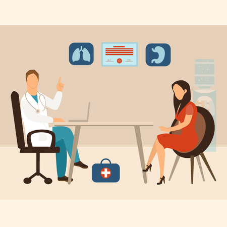Medicine concept. Practitioner doctor man and young fashionable woman patient in hospital medical office or polyclinic. Consultation and diagnosis. Vector illustration in flat cartoon style.