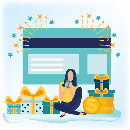 Young woman sitting near credit card and using mobile phone for online banking and accounting. Online shopping. Credit card payment, gift card. Gift boxes. Vector illustration in flat cartoon style. Stock Illustratie