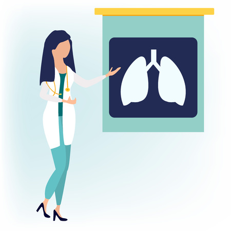 Doctor woman character near fluorography or chest lungs x-ray. Medical concept vector illustration in flat cartoon style.