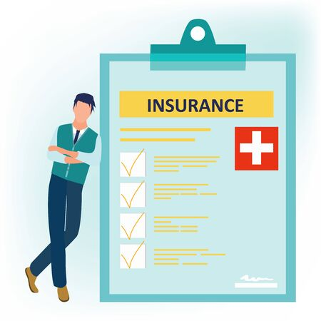 Health insurance. Man standing cross-legged near the signed health insurance policy. Human life insurance. Healthcare concept. Vector illustration in flat cartoon style.