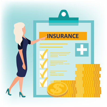 Health insurance. Woman in dress standing near health insurance policy and coins stack. Human life insurance. Healthcare concept. Vector illustration in flat cartoon style.