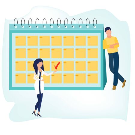 Health check up. Medical services. Woman doctor and man standing near big Healthcare calendar. Annual medical exam. Vector illustration in a flat cartoon style.