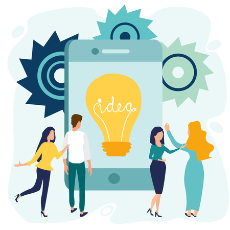 Office people stand near big smartphone or digital tablet screen. Light bulb with concept of idea. Business concept. Vector illustration in flat cartoon style.