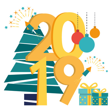 Vector illustration in flat cartoon style of the preparation for the new year, engaged in decoration, the inscription New Year 2019. Christmas ball, christmas tree, gift boxes, firework.