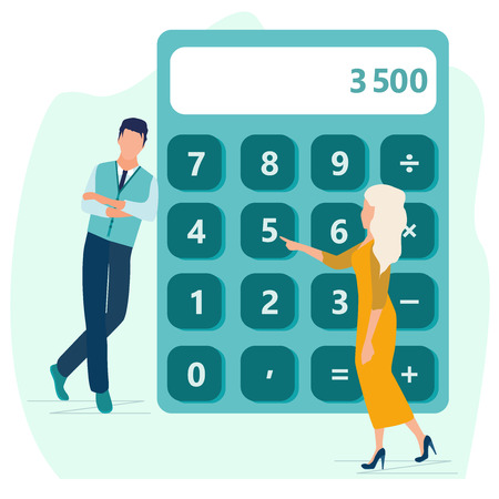 Calculator. Financial calculations, accountant. Accounting, bookkeeping, audit debit and credit calculations. Business people standing near big calculator. Business concept in flat cartoon style.