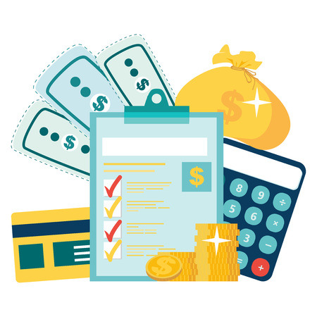 Year-end tax adjustment Vector flat illustration. Financial calculations, accountant. Accounting, bookkeeping, audit debit and credit calculations. coins stack. Marked checklist on a clipboard paper.