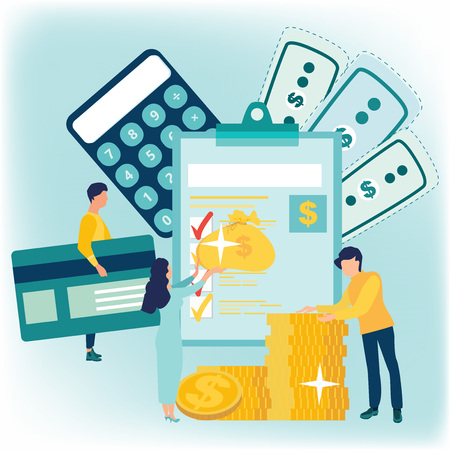 Year-end tax adjustment Vector flat illustration. Financial services, saving or accumulating money, a bag of coins. Calculator. Financial calculations, accountant. Bookkeeping, audit debit and credit