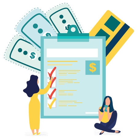 Woman submit tax, online tax payment and report. Year-end tax adjustment. Financial services, engaged in work, saving or accumulating money. Marked checklist on a clipboard paper. Vector illustration.