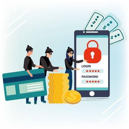 Criminals, burglars or crackers in black hats, masks and clothes stealing personal information and money from smartphone. Concept of hacker attack internet activity or security hacking. Phishing scam.  イラスト・ベクター素材