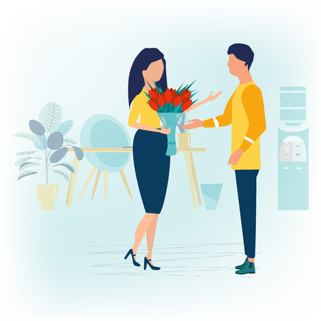 Love and celebrate concept. Man gives a woman a bouquet of flowers in office. Romantic lovers dating. Vector illustration in dflat cartoon style.