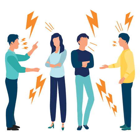 A set of a couple of people quarrel and swear on white background. Quarrelling and Making a Public Scandal. Aggressive Angry Man and Woman Yell at Each Other. Vector illustration. Flat cartoon style.
