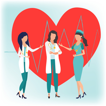 World Health Day banner with group of happy medical staff, medicine workers, physicians, doctors, paramedics, nurses standing together. Medical examination. Vector illustration in flat cartoon style. Illustration