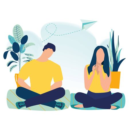 Office workers with crossed legs and meditate. Business meditation and team building activity. Concept of meditation, health benefits for body, mind and emotions. Flat cartoon vector illustration.
