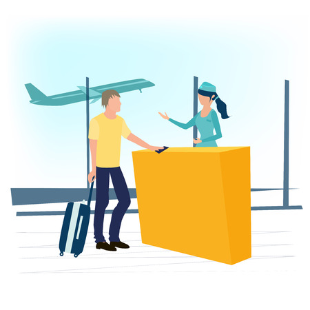 Young man and stewardess at the airport. Airline agent checking ticket documents at gate. Tourist with suitcase . Business travel concept. Vector illustration in a flat cartoon style.