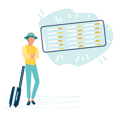 Vector cartoon illustration of young man in hipster hat with suitcase in international airport looking at the flight information board. Business travel concept. Flat style.