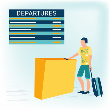 Vector cartoon illustration of young man in bright summer t-shirt with baggage waiting for plane departure at airport and looking at the flight information board. Business travel concept. Flat style.