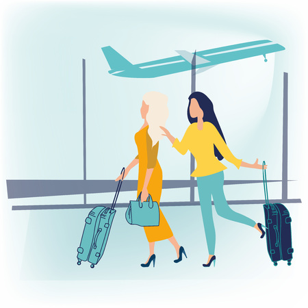 Air travel to warm countries. Two happy friends women in dress with luggage at the airport are going on vacation. Business travel concept. Journey. Vector illustration in a flat cartoon style.