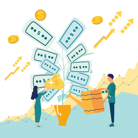 Investing. Deposit profit and wealth growing business. Teamwork persons cultivate money to fund future business. Increase income dollars with successful bank investor strategy. Vector illustration. Stock Illustratie