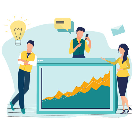 Our team. Teamwork and business team, office team, business success, work people. Company and leadership, businessman and worker. Startup. Colleagues and friends. Flat cartoon vector illustration.