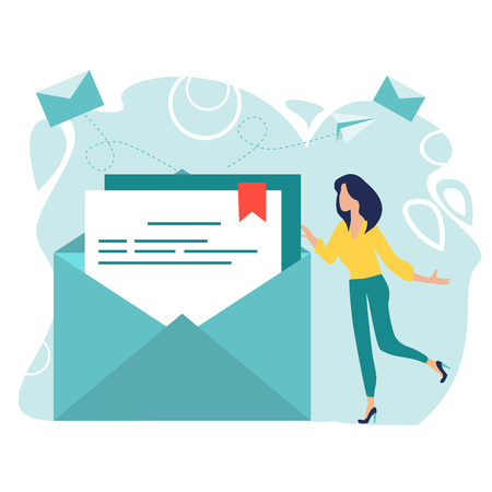 Concept of an e-mail message, a new incoming sms, mail notification sending. Woman hold mail. Chatting. New email message. Business woman. Working process. Social network, chat. Vector illustration.