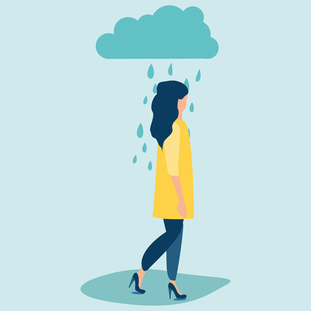 Sad woman or girl in bright yellow coat and fashion high heel shoes standing under the rain. Overcast weather. Vector illustration in a flat cartoon style.