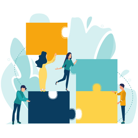 Business concept. Teamwork metaphor. People or businessman connecting puzzle elements. Symbol of working together, teamwork, cooperation, partnership. Vector illustration in a flat cartoon style. Stock Illustratie