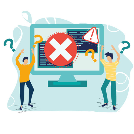 Business concept. Error 404. Error warning for web page, banner, presentation, social media. Page not found. Disconnection from the Internet. Little angry people. Flat cartoon vector illustration.