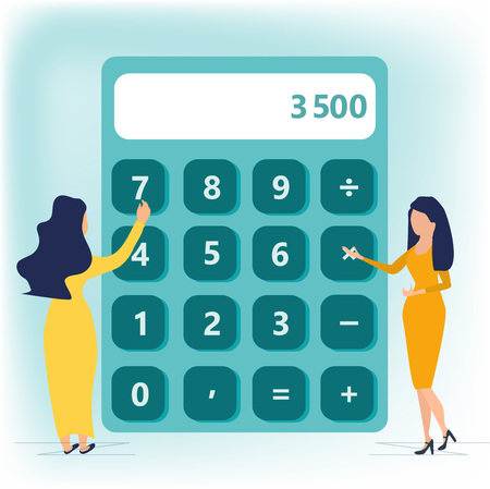 Calculator. Financial calculations, accountant. Accounting, bookkeeping, audit debit and credit calculations. Business woman in long dress standing near big calculator. Business concept in flat style.