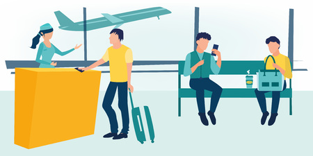 Business people sitting and walking in airport terminal, business travel concept. Man waiting takeoff in airport hall. Departure lounge, passengers terminal. Waiting area. All gates. Boarding.