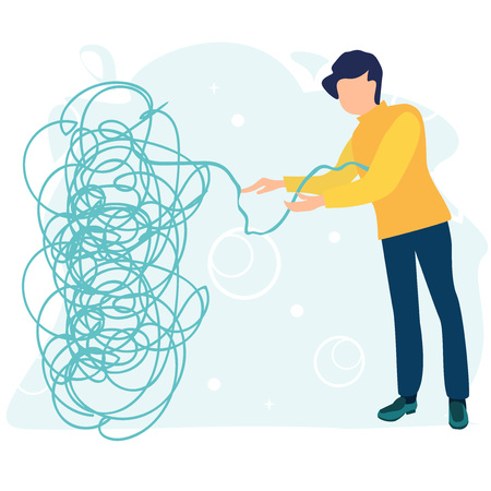Businessman or young man tries to pull the tangled rope. Business concept. Tangle tangled and unraveled. Abstract metaphor, business problem solving concept. Flat cartoon vector illustration. Çizim