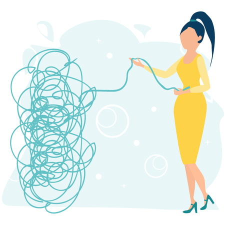 Businesswoman or young female character tries to pull the tangled rope. Business concept. Tangle tangled and unraveled. Abstract metaphor, business problem solving. Flat cartoon vector illustration. Çizim