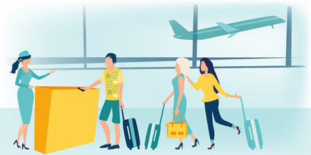 Man and woman standing with luggage at airport check-in counter or registration desk and talking to female worker. Scene with tourists or travelers at airport hall. Business travel concept. Colorful flat vector illustration.