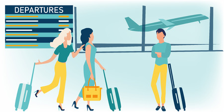 Vector cartoon illustration of young man and woman with baggage waiting for plane departure at airport and looking at the flight information board. Business travel concept. Flat style.