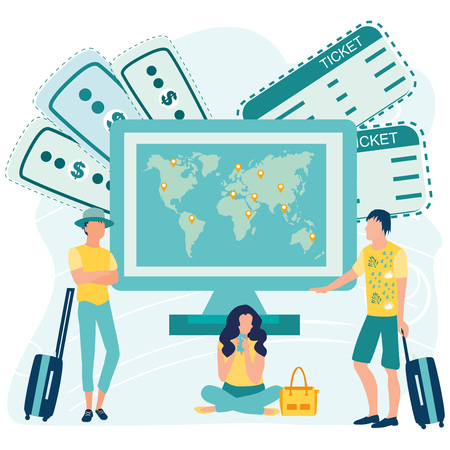 Big computer with world map on screen and small people with luggage booking flight tickets online. Travel the world, online payment concept. Location pin. Business vector illustration in flat style. Stock Illustratie