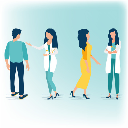 Feamle doctors talking with patients. Medicine concept with doctor and patient in flat style. Healthcare services. Ask a doctor. Therapist in uniform with stethoscope. Consultation and diagnosis.