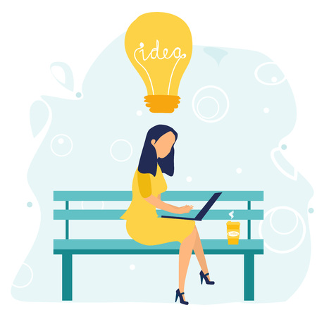 Business woman with laptop and cup of coffee is sitting on the bench and connecting brain into ideas. Analysis. Lightbulb. Brainstorming. Business concept. Vector illustration in a flat cartoon style. Illustration
