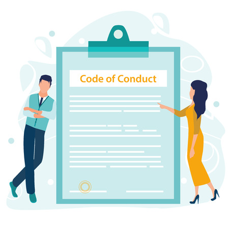 Code of Conduct. Business ethics. Business man and woman looking on a document on a clipboard paper. Concept of ethical integrity value and ethics. Vector illustration in a flat cartoon style.