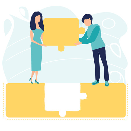 People or businessman connecting big puzzle elements. Business concept. Teamwork metaphor. Symbol of working together, teamwork, cooperation, partnership. Vector illustration in a flat cartoon style.