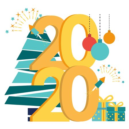 Vector illustration in flat cartoon style of the preparation for the new year, engaged in decoration, the inscription New Year 2020. Christmas ball, christmas tree, gift boxes, fireworks