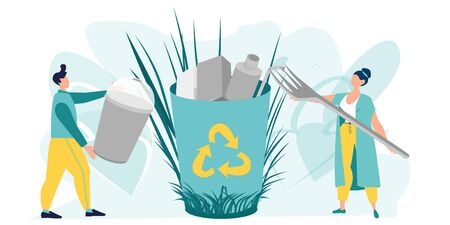 Eco illustration for web. The employee is engaged in the processing of garbage. Protection of the environment. People sorting waste. Eco-friendly characters. Save the planet. Vector, flat style.