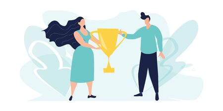 Business goal achievement vector concept, flat style. Winner stand with a golden cup in hands. Successful teamwork. First place, number one. Best score winner prize.