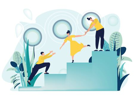 Vector illustration of the concept of teamwork. Woman and man helping and growing together. Career Ladder with Characters. Team Work, Partnership, Leadership Concept. Flat cartoon style.